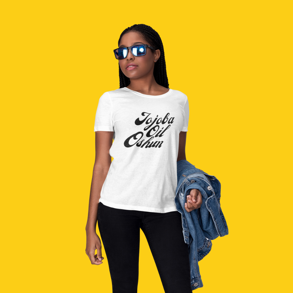 woman in nigeria god oshun shirt