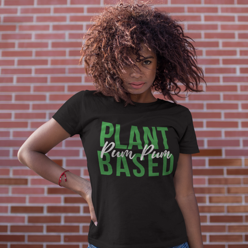 woman in plant based vegan shirt